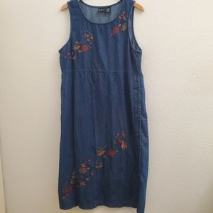 Vintage Erika Floral Jumper Dress Button Side D36